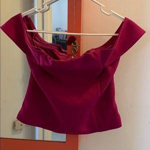 Express purple open shoulder top size 6